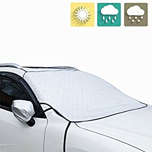 Windshield Snow Cover Jackey awesome Car Windshield Snow & Sun Shade Protector Exterior Shield Guard Fits All Weather Winter Summer Auto SunShade Cover (Silver, Front Windshield)