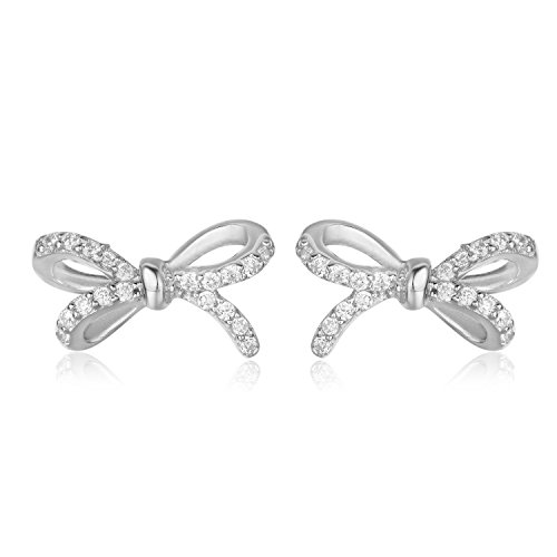 925 Sterling Silver Ribbon Bow Stud Earrings With Cubic Zirconia Meaningful Gifts for Women (rhodium plating silver)