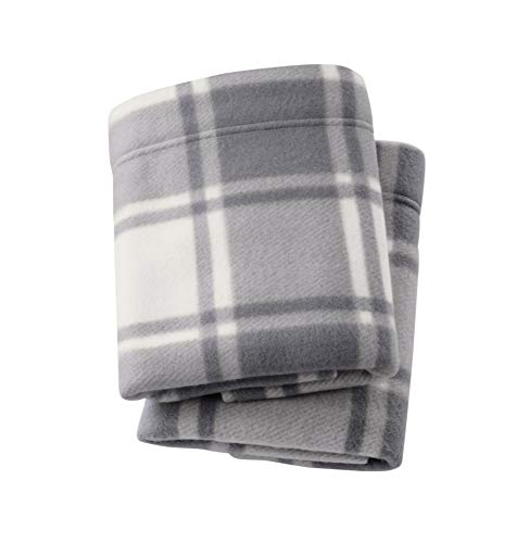 Great Bay Home Super Soft Extra Plush Plaid Polar Fleece Pillowcases. Cozy, Warm, Durable, Smooth, Breathable Winter Pillowcases with Plaid Pattern. Dara Collection Brand. (Standard, Grey) ()
