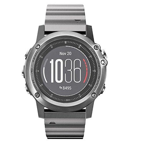 Garmin fenix 3/fenix 3 HR Watch Band,Shangpule Stainless Steel Metal Replacement Smart Watch Band Link Bracelet with Double Button Folding Clasp for Garmin fenix 3&HR/quatix 3/tactix Bravo