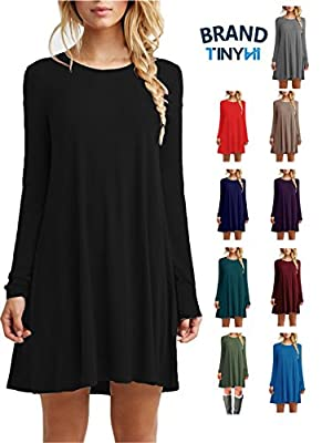 TINYHI Women's Casual Plain Flowy Simple Swing T-shirt Loose Dress