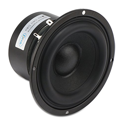 DROK 4'' 4 Ohm Audio Speakers, 40W Anti-magnetic Car Stereo Bass Speakers, 87dB High Sensitivity Thumping Subwoofer Loudspeaker for 2.0/2.1 Home Stereo DIY Boombox Satellites by DROK