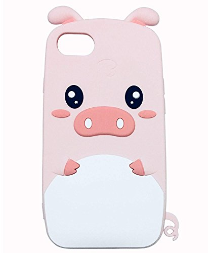 iPhone 6 Plus Silicone Case, Anya 3D Cartoon Pink Baby Pig Piggy Soft Silicone Gel Shockproof Protective Cute Lovely Special Cool Fun Gift Kids Teens Girls Women for iPhone 6 Plus/6s Plus ()