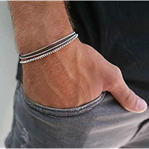 "Best Epic Trends 41g8knxIGmL._SS300_ Handmade Mens Silver Bracelet - Men Chain Bracelet Made Of Stainless Steel - Silver Bracelet For Men - Fits 7"" - 8.6"" Wrist Size"