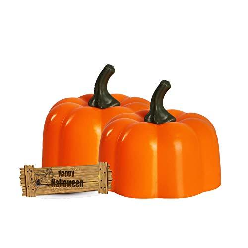 Freewander Pumpkin LED Lights Halloween Home Decor Battery Operated Grimace Mini Cute Pumpkin Shape Tea Light, Pack of 12