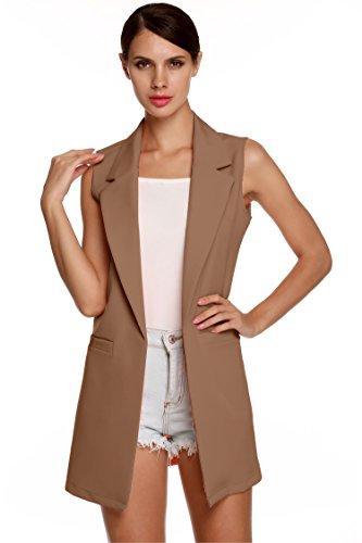 Jingjing1 Women Casual Plus Size Sleeveless Solid Vest Trench Coat with Pockets Long Suit Coat Waistcoat Cardigan XL XXL