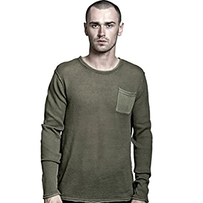 REVOLUTION NOW Men's Knitted Roll Edge Crew Neck Pullover Sweater for sale