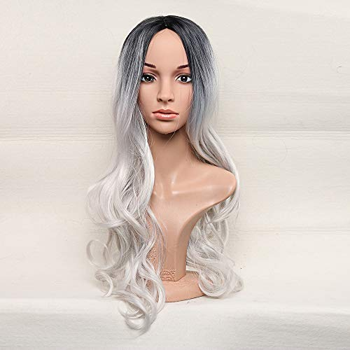 LONGLOVE European and American Fashion Black and Gray Gradient Wig Female Long Wavy Curly Hair Chemical Fiber Wig by LONG LOVE (Image #5)