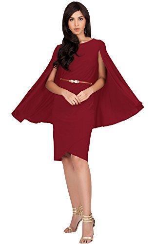 KOH KOH Plus Size Womens Long Cape Batwing Cloak Dolman Sleeve Belt Knee Length Fall Winter Work Tunic Dressy Formal Casual Cocktail Funeral Mini Midi Dress Dresses, Crimson Dark Red 2XL 18-20