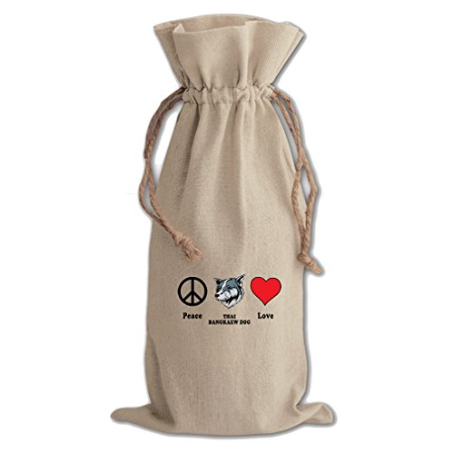 Canvas Wine Cotton Drawstring Bag Peace Love Thai Bangkaew Dogdog Style In Print by Style in Print
