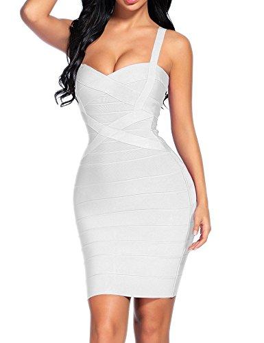 Madam Uniq iFashion Women's Rayon Bandage Bodycon Strap Mini Dress (L, White-2)