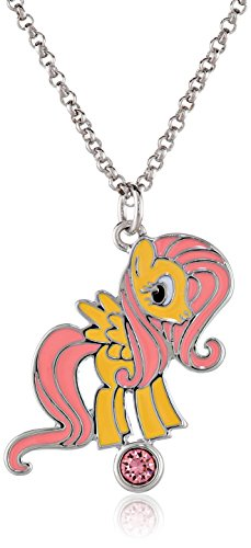 My Little Pony Girls' Fine Silver-Plated Fluttershy Rhinestone Pendant Necklace, 18