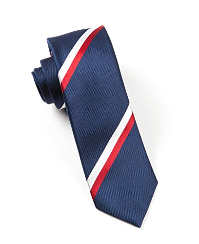 The Tie Bar 100% Woven Silk Navy and Red Ad Striped 3 Inch Tie
