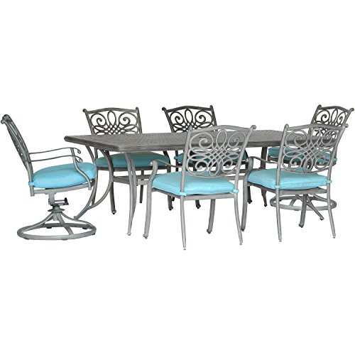 Hanover TRADDNG7PCSW2-BLU 7 Piece Dining Set, Blue For Sale