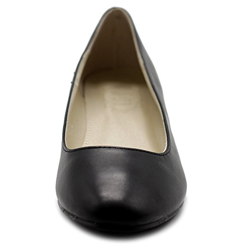 Ollio Shoe Women's Comfort Black Wedge Heel Light Basic Ballet Pump rrawxTAq
