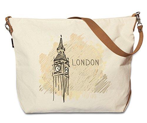 London - England -2 Beige Printed Canvas Tote Bag with Leather Strap WAS_29