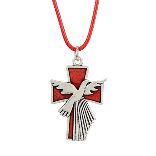 Confirmation Holy Spirit Dove and Cross Pendant Necklace, 24 Inch