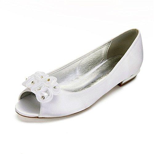 Chaussures Zxstz Party Femme Mariage Dance Fleurs Bas Talon De Ivoire Chaussures Satin Robe rPxBqpr8