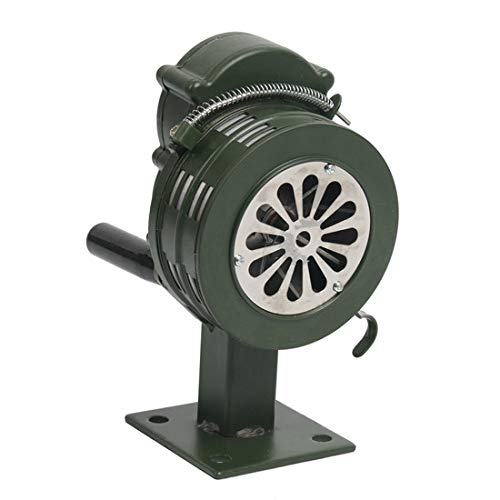 YaeGarden Manual Crank Siren Crank Alarm Air Raid Sirens 110±2dB Base/Table Mount Hand Crank Manual Operated Metal Alarm/Siren (Air Raid)