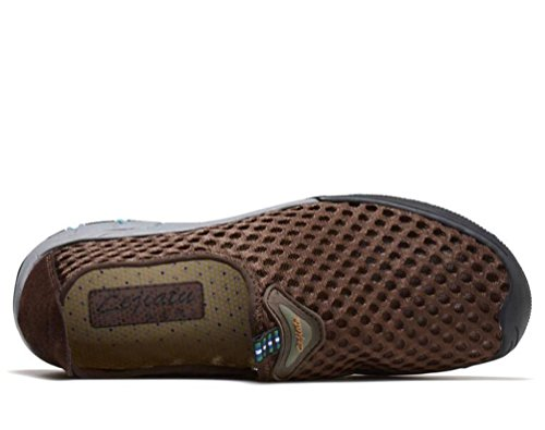 Hombres De Malla Deporte Ligero Deportiva Deportiva Antideslizante Respirable Zapatos UE Tamaño 39-44 Brown