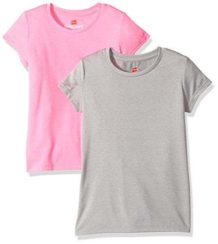 Hanes Girls' Big Sport Heathered Performance Tee (Pack of 2), Ice Glaze Pink Extreme, S