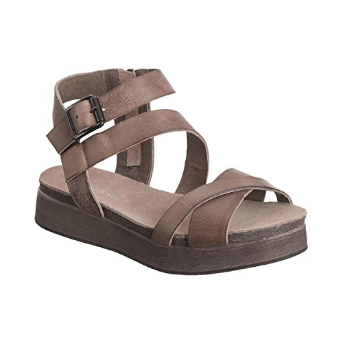 Antelope Women's 210 Grey Leather Multistrap Wedge Sandals 40