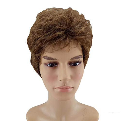 Women Men Synthetic Wig Short Curly Layered Haircut Brown Costume Wig 4 Colors Available medium brown 8inches -