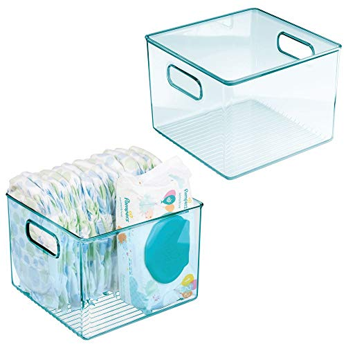 mDesign Storage Organizer Container Plastic Bin Holder with Handles for Baby Supplies in Kitchen, Pantry, Nursery, Bedroom, Playroom - BPA Free & Food Safe - Holds Snacks, Bottles, Food, 2 Pack - Blue