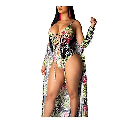 TANLANG Women's Bohemian Chiffon Maxi Dress Belt V-Neck Printed Bandage Blouse One Piece Bodysuit