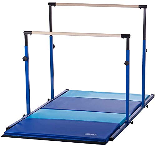 Nimble Sports Blue Parallel Bars with Blue and Light Blue Folding Mat Combo