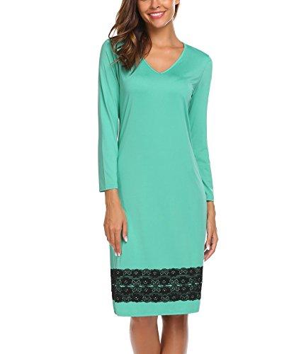 ADOME Mujer Pijama Camisón Ropa de Casa Dormir Encaje Manga Larga Suave Elástico Verde Claro