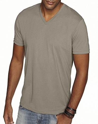 - Next Level 6440 Premium Fitted Sueded V-Neck Tee Warm Grey XX-Large