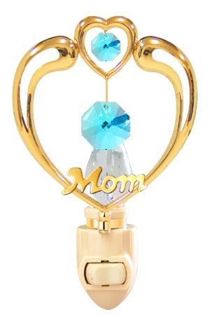 Happy Mother's Day -Mom in Heart Night Light with Blue Swarovski Element Crystals
