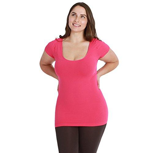 Nikibiki Plus Size Cap Sleeve Top Plain Jersey 92% Nylon and 8% Spandex (Fuchsia)