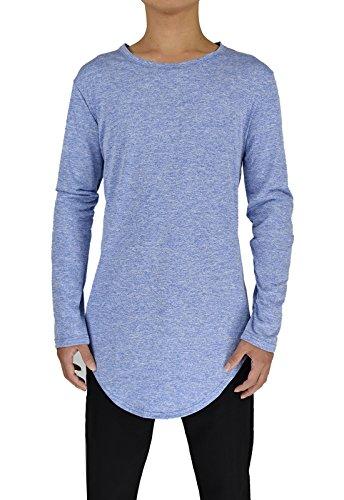 Moomphya Mens Extend Long Tail Hipster Hip Hop Streetwear T Shirts Curve Hem Long Sleeve Slim Longline T-Shirt