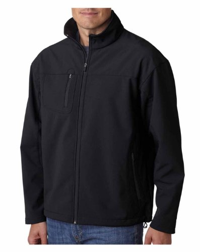 UltraClub 8280 Adult Soft Shell Jacket with Cadet Collar - Black - (Cadet Collar Jacket)