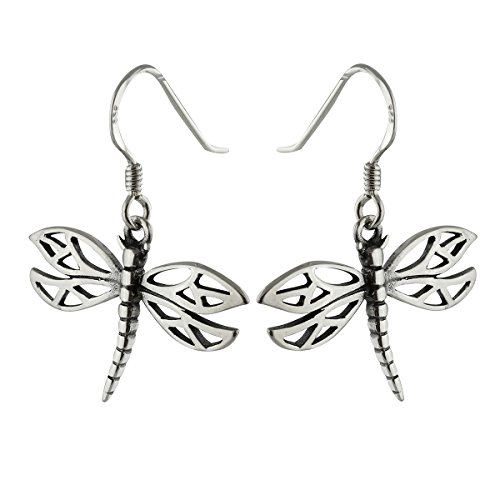 Sterling Silver Dragonfly Dangle Earrings, French Ear Wires