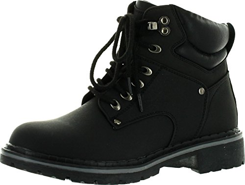 Eye Padded Collar Boot 6 (Forever Broadway-5 Women's Military Combat Lace Up Padded Cuff Martin Boot Slip-Resistant Hiking Outdoor Work Shoes Ankle Short Boot,Color:Black, Size:7.5)