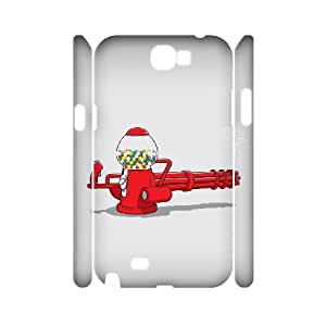 3D Samsung Galaxy Note 2 Case Gumball Machine Gun, Protection Cute Funny Vety, {White}