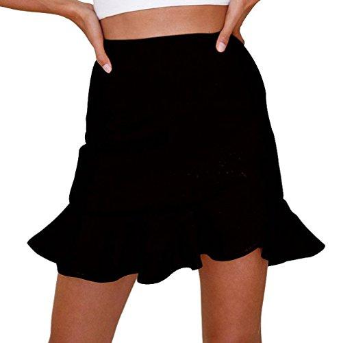 Bigood Femme Jupe avec Froufrous Asymtrique Taille Haute Couleur Uni Noir