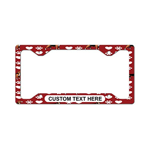 Custom License Plate Frame Serbian Tricolour Hound Dog Red Aluminum Cute Car Accessories Narrow Top Personalized Text Here Set of 2