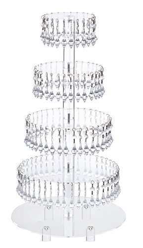 - Pre-Installed Crystal Beads- 5 Tier Acrylic Cupcake Tower Stand with Hanging Crystal Bead-wedding Party Cake Tower (5 Tier With Feet) (5RF-Crystal)