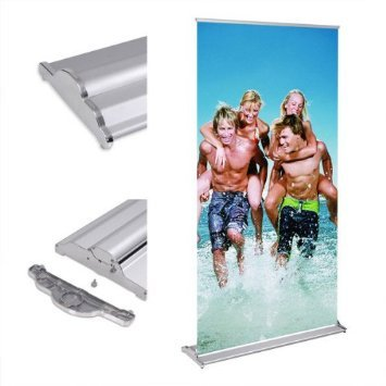 "Portable 32x 79 Inches Deluxe Aluminum Silver Rollup Retractable Banner Stand Roll Up Trade Show Signage Easy Change Graphics 32.5""x 79"" for Display Sign Holders from Generic"
