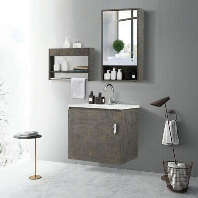 Modern Wall-Mounted Bathroom Vanity Sink Set Medicine Cabinet and Storage -
