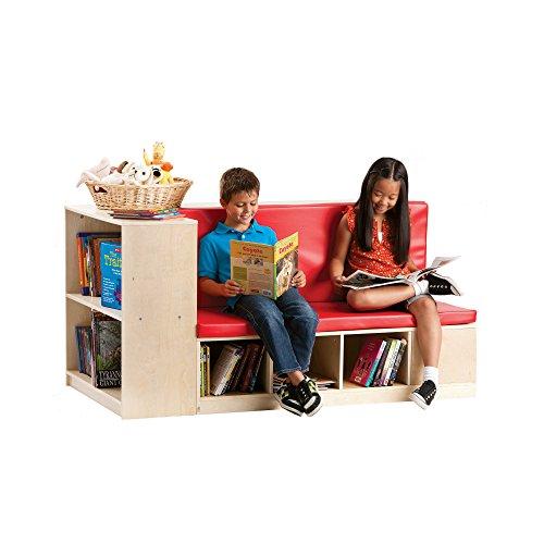 ibrary Storage Set with Seat, Children Bookcase Shelves - Kids Furniture Cubbies (Guidecraft Bookshelf)