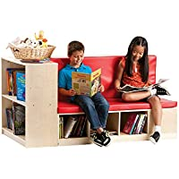 Guidecraft Modular Library Storage Set with Seat, Children Bookcase Shelves - Kids Furniture Cubbies