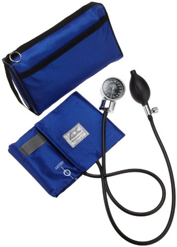 ADC Diagnostix 778 Pocket Aneroid Sphygmomanometer with Adcuff Nylon Blood Pressure Cuff, Adult, and Carrying Case, Royal Blue