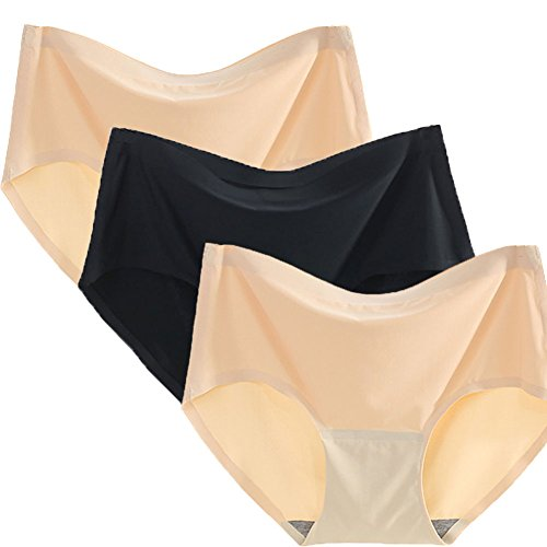 Warm Sun Womens Seamless Ice Silk Sexy Soild Color Plus Size Full Coverage Panties Pack of 2 or 3 US Size XS-XXL/4-9