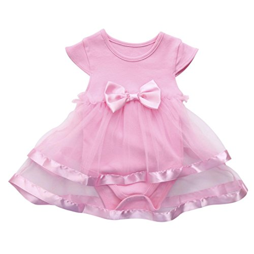 Girls Infant Birthday Tutu Bow Clothes Party Jumpsuit Princess Romper Dress (6-9 Months, Pink) ()