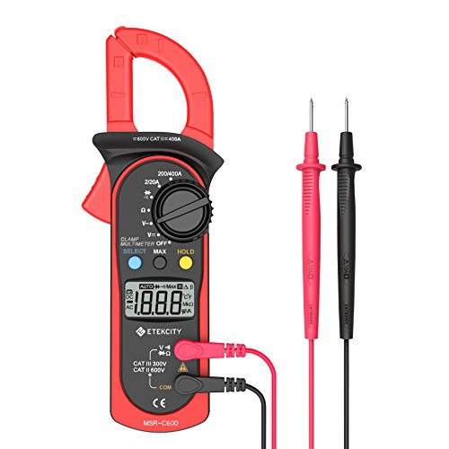 Etekcity MSR-C600 Digital Clamp Meter Multimeters , Auto-Ranging Multimeter AC/DC voltmeter with Voltage, AC Current, Amp, Volt, Ohm, Diode and Resistance Test Tester (Voltage Over Capacitor)